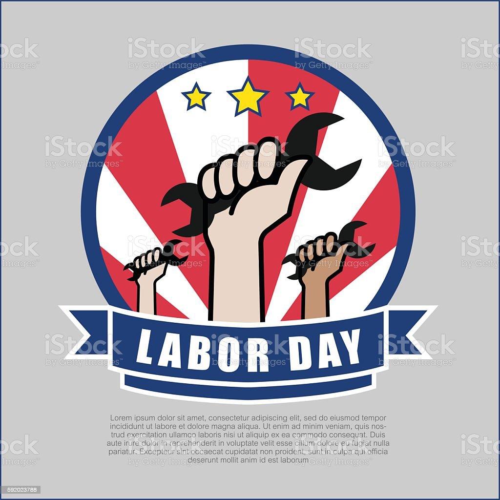 Labor day Logo design vector illustration. - ilustración de arte vectorial