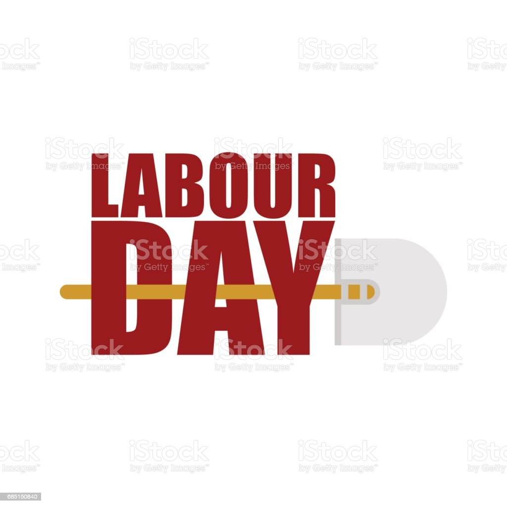 Labor Day logo. Lettering and shovel. Sign for holiday. Hand tools for work. royalty-free labor day logo lettering and shovel sign for holiday hand tools for work stock vector art & more images of agriculture