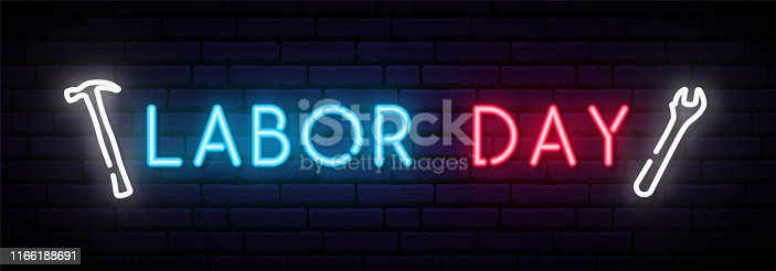 Labor Day neon sign. Long horizontal light banner. Vector bright signboard.