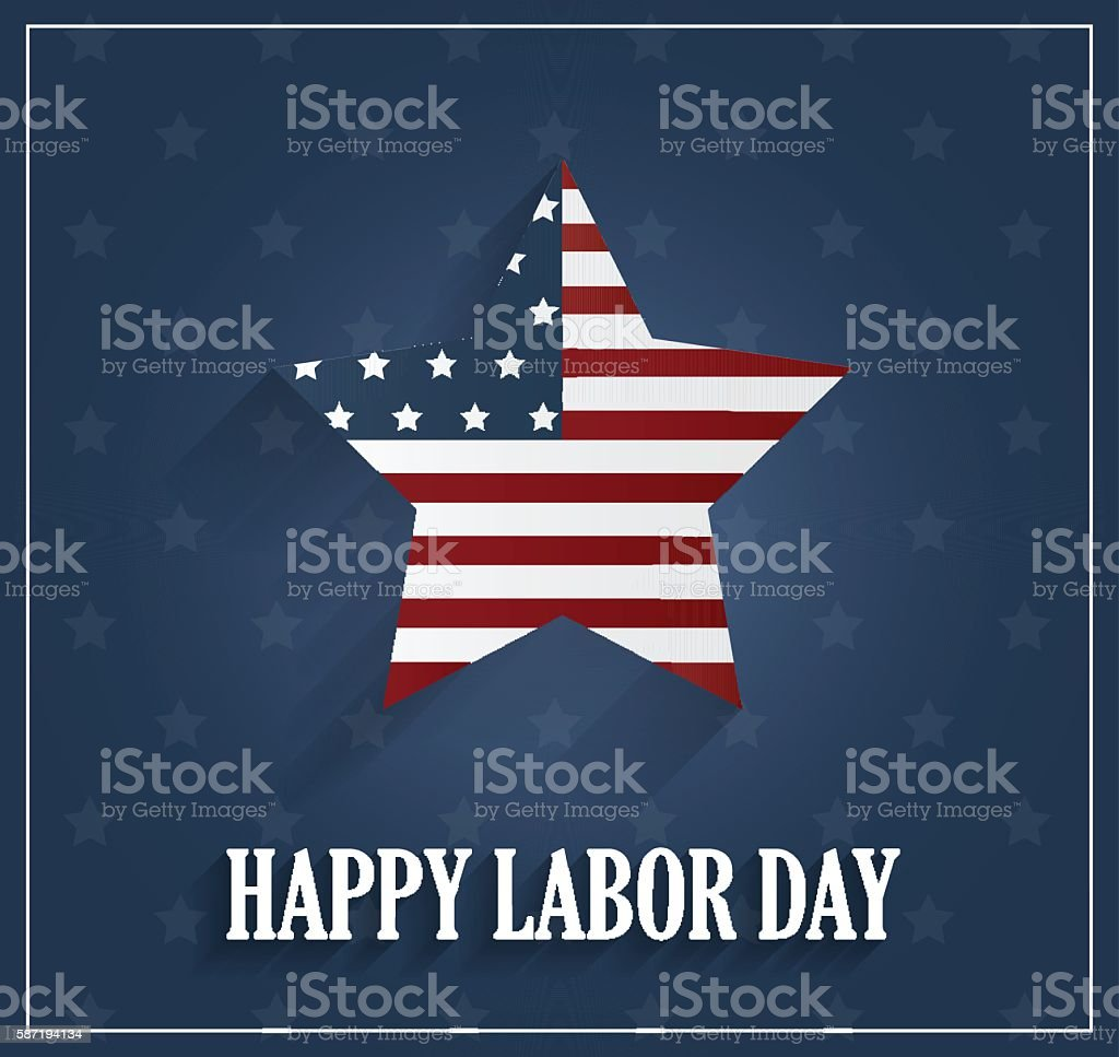 Labor Day poster on blue background vector art illustration