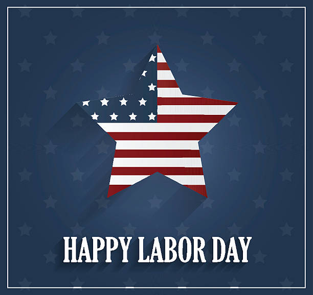 labor day poster on blue background - labor day stock illustrations, clip art, cartoons, & icons