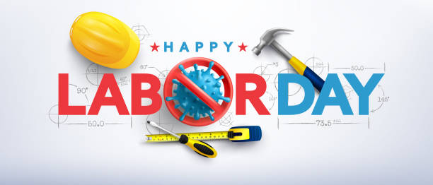 Labor Day poster template.International Workers' Day celebration with Stop virus sign,Yellow safety hat and construction tools.Sale promotion Poster or Banner for Labor day vector art illustration