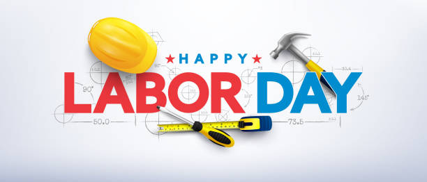 Labor Day poster template.International Workers' Day celebration with Yellow safety hard hat and construction tools.Sale promotion advertising Poster or Banner for Labor Day Labor Day poster template.International Workers' Day celebration with Yellow safety hard hat and construction tools.Sale promotion advertising Poster or Banner for Labor Day labor day stock illustrations