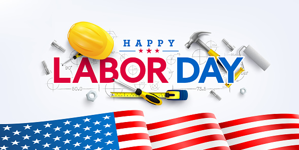 Labor Day poster template.USA Labor Day celebration with American flag,Safety hard hat and Construction tools.Sale promotion advertising Poster or Banner for Labor Day