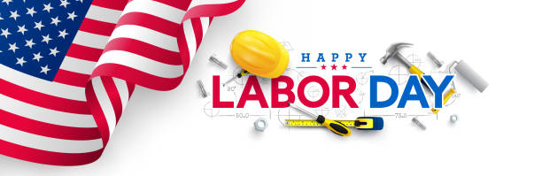 Labor Day poster template.USA Labor Day celebration with American flag,Safety hard hat and Construction tools.Sale promotion advertising Poster or Banner for Labor Day vector art illustration