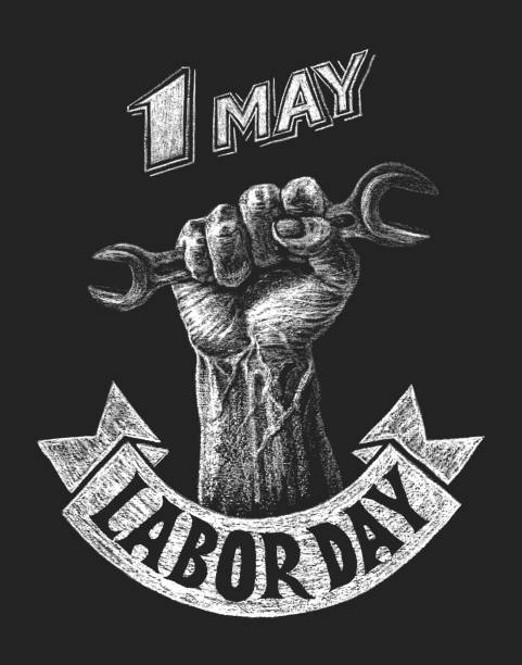 labor day poster - may day stock illustrations, clip art, cartoons, & icons