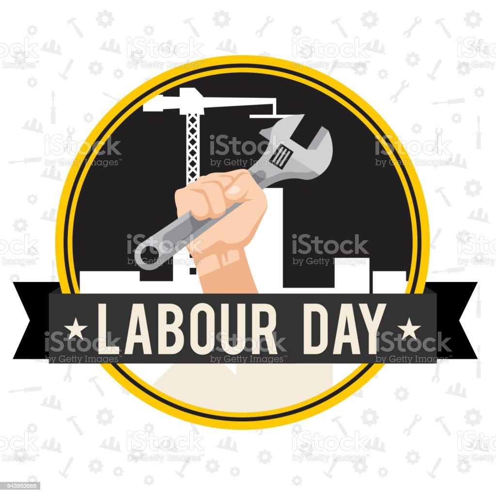 Labor Day Band Hand Mit Schraubenschlussel Kreis Frame