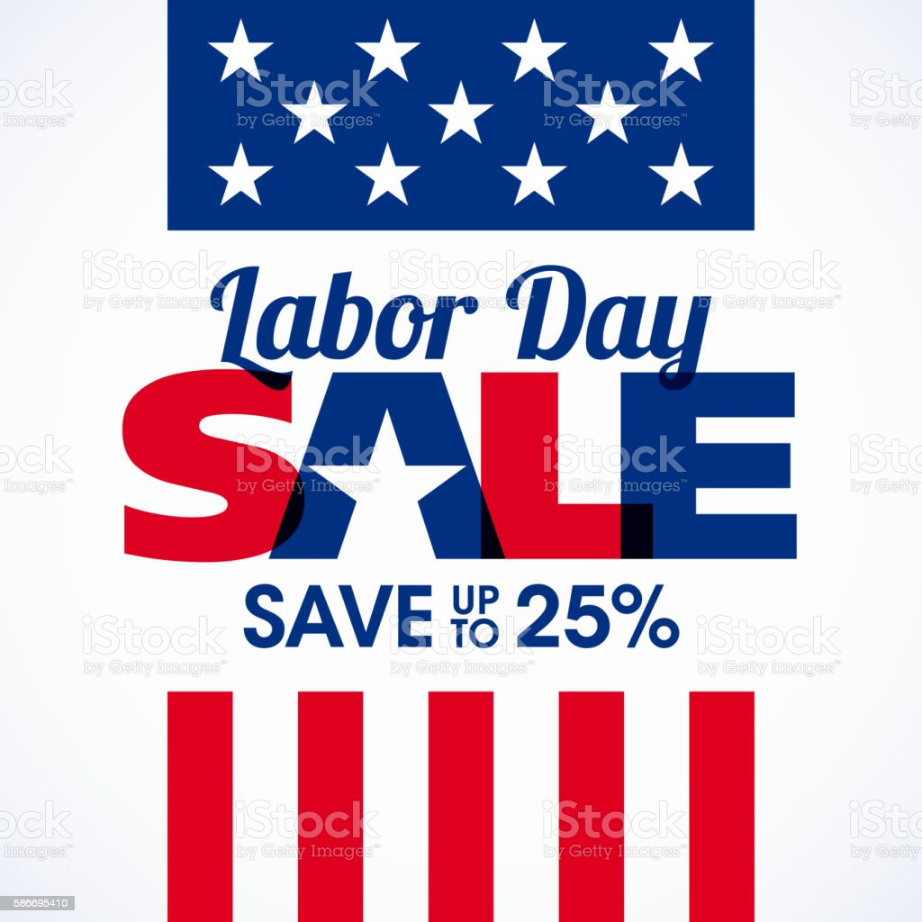 Labor Day Sale advertising banner design vector art illustration