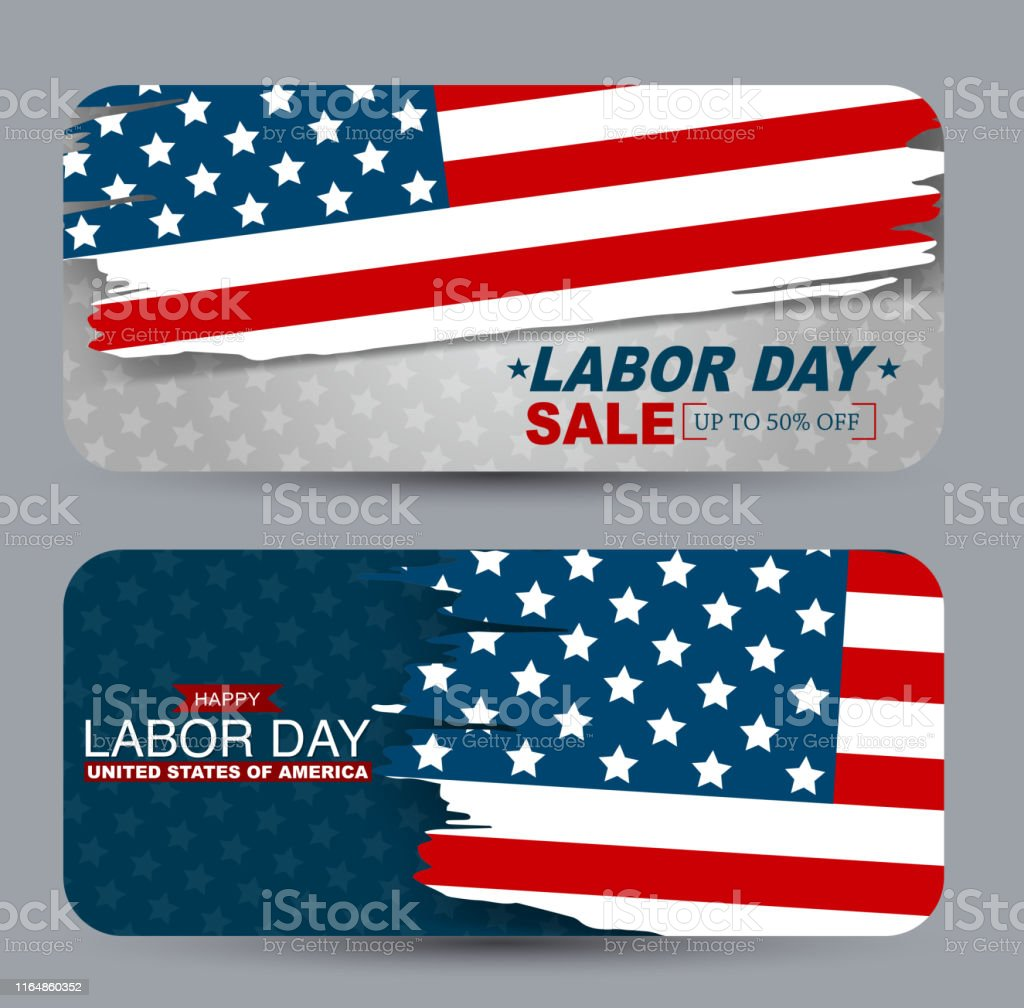 Labor Day Sale Banner Set Gift Card Or Voucher For Shopping Promo