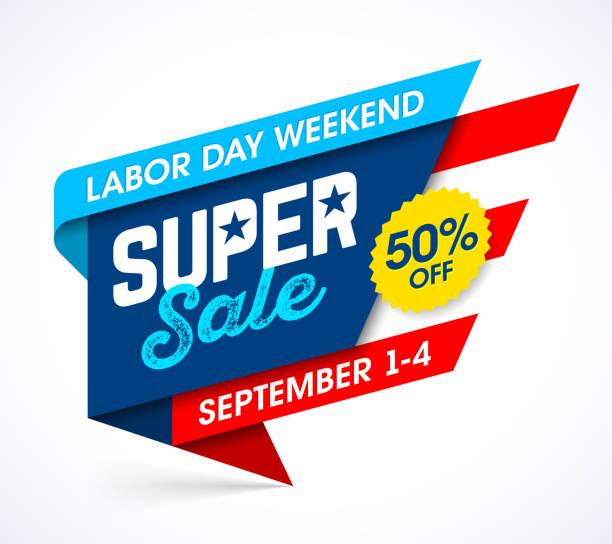 ilustraciones, imágenes clip art, dibujos animados e iconos de stock de banner de venta del día del trabajo - día del trabajo