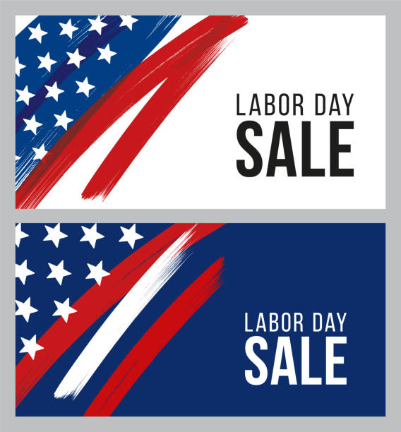 labor day sale design for advertising, banners, leaflets and flyers - labor day stock illustrations, clip art, cartoons, & icons