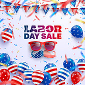 Labor Day Sale poster template.USA labor day celebration with American balloons flag.Sale promotion advertising banner template for Brochures,Poster or Banner