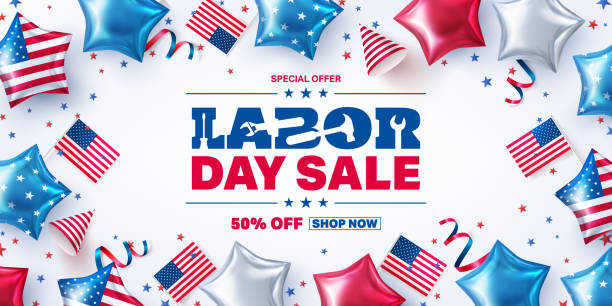 USA Labor Day Sale poster template.USA labor day celebration with american party elements and work tools.Sale promotion advertising banner template for USA Labor Day Brochures,Poster or Banner vector art illustration