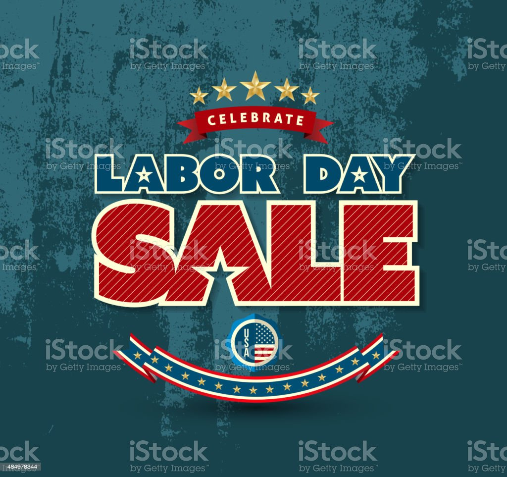 Labor day sale poster. vector art illustration