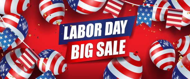 Labor day sale promotion advertising banner template decor with American flag balloons and american flags Garlands decor. vector art illustration