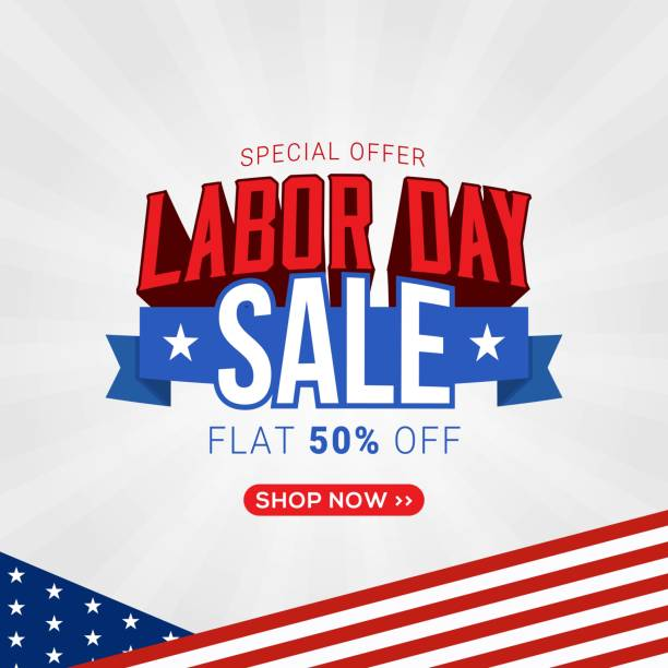 labor day sale promotion banner template design - labor day stock illustrations, clip art, cartoons, & icons