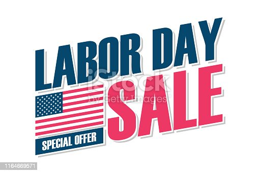 USA Labor Day Sale special offer banner with american national flag for business, promotion and discount shopping. United States holiday sale vector illustration.