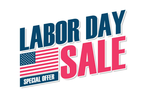 USA Labor Day Sale special offer banner with american national flag for business, promotion and discount shopping. vector art illustration
