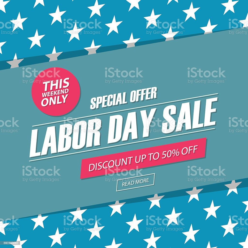 Labor Day Sale. This weekend special offer banner. vector art illustration
