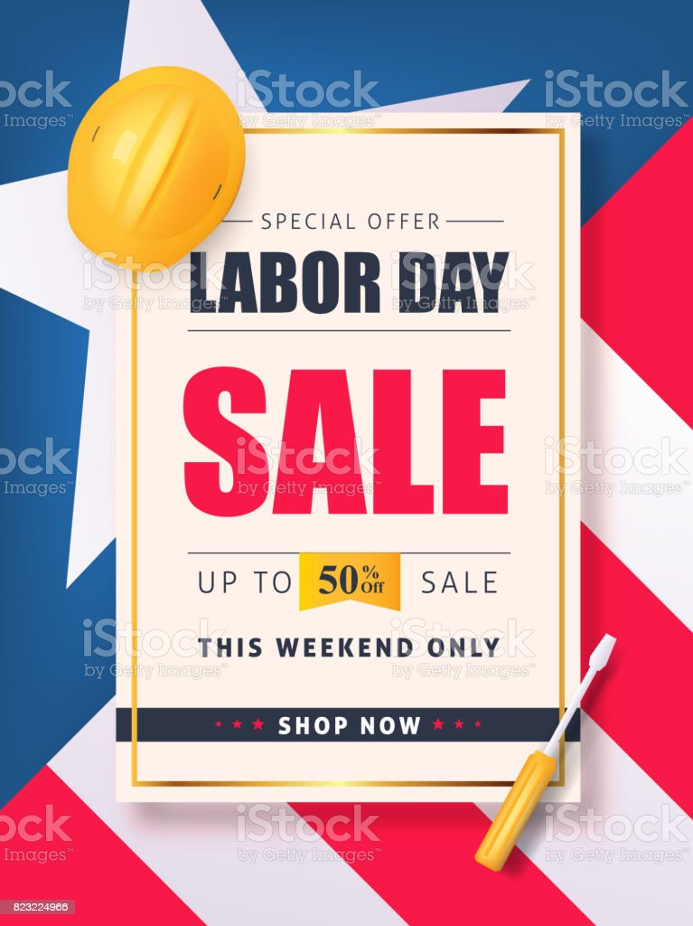 Labor day sale vector art illustration