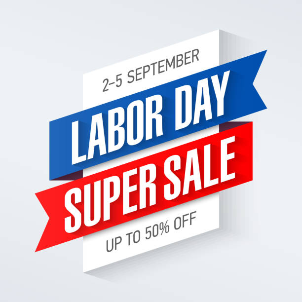 ilustraciones, imágenes clip art, dibujos animados e iconos de stock de labor day super sale banner - día del trabajo