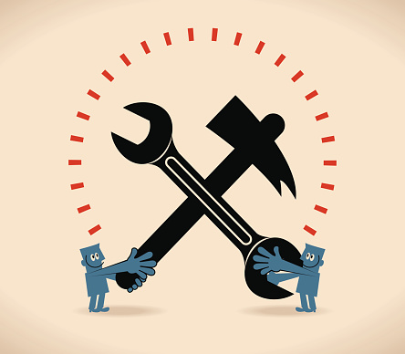Labor Day, two men with crossed spanner wrench and hammer