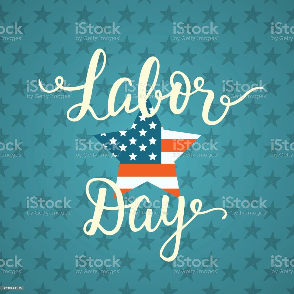 Labor day unique poster with handwritten lettering vector art illustration