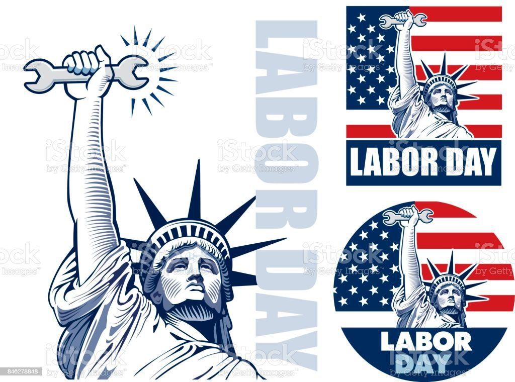 Labor day with Statue of Liberty holding wrench tool vector art illustration