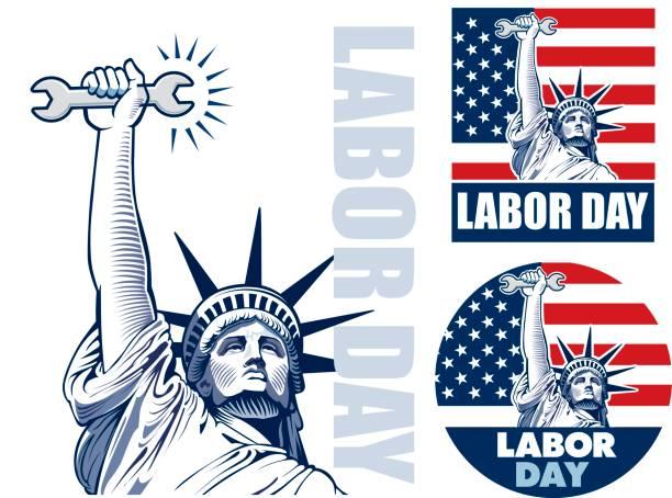 ilustraciones, imágenes clip art, dibujos animados e iconos de stock de día del trabajo con la estatua de la libertad sosteniendo la llave herramienta - día del trabajo