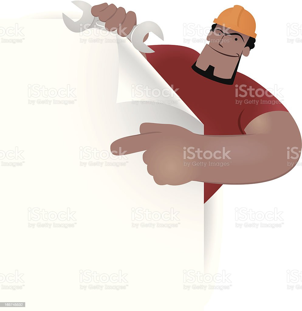 Labor holding paper and spanner showing something by index finger royalty-free stock vector art