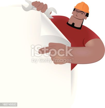 Vector illustration - Labor holding paper and spanner showing something by index finger.