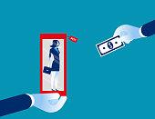 Labor in exchange for money. Concept business vector illustration, Flat design, character, cartoon