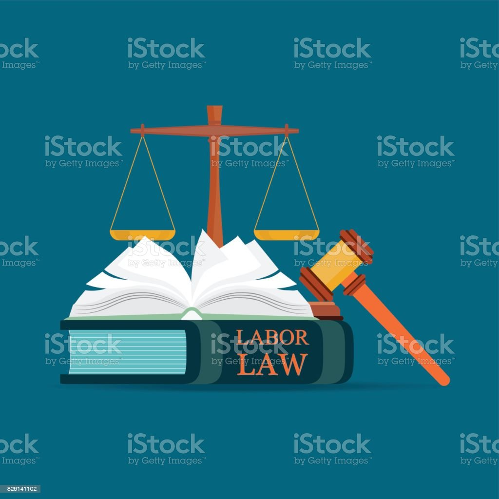 Labor Law books with a judges gavel in flat style. vector art illustration