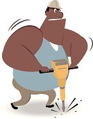 Vector illustration – Labor Using a Power Jackhammer.