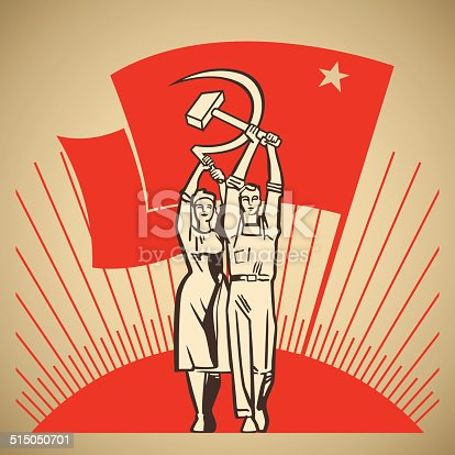 Happy man and woman together holding in their hands labour tools hammer and sickle on the background of the rising sun and waving socialism flag vector illustration