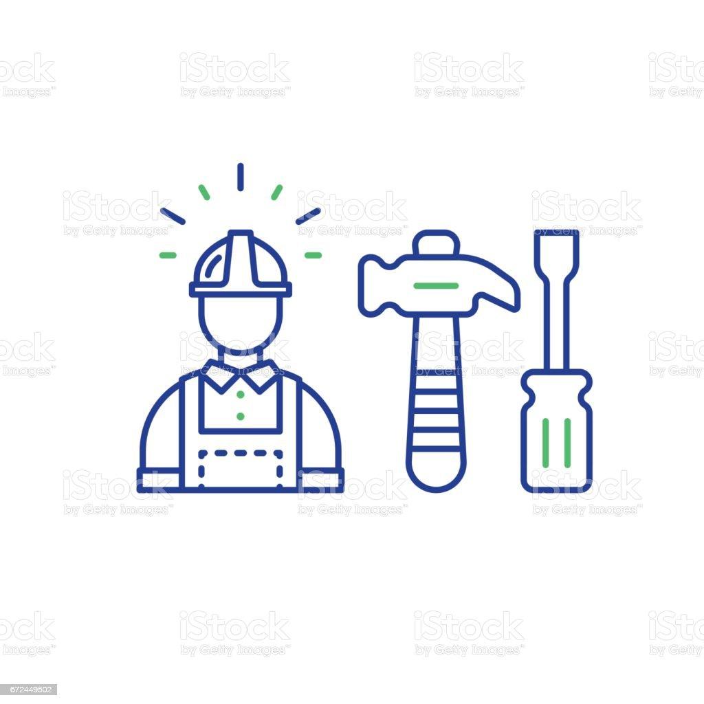 Labor workforce, construction worker in helmet, work tools vector art illustration
