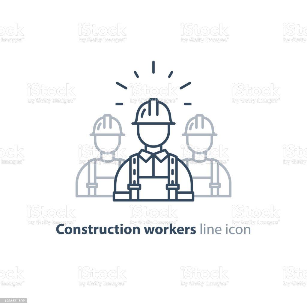 Arbeid van de beroepsbevolking, de groep van de werknemers van de bouw in de helm, de drie bouwersvectorkunst illustratie