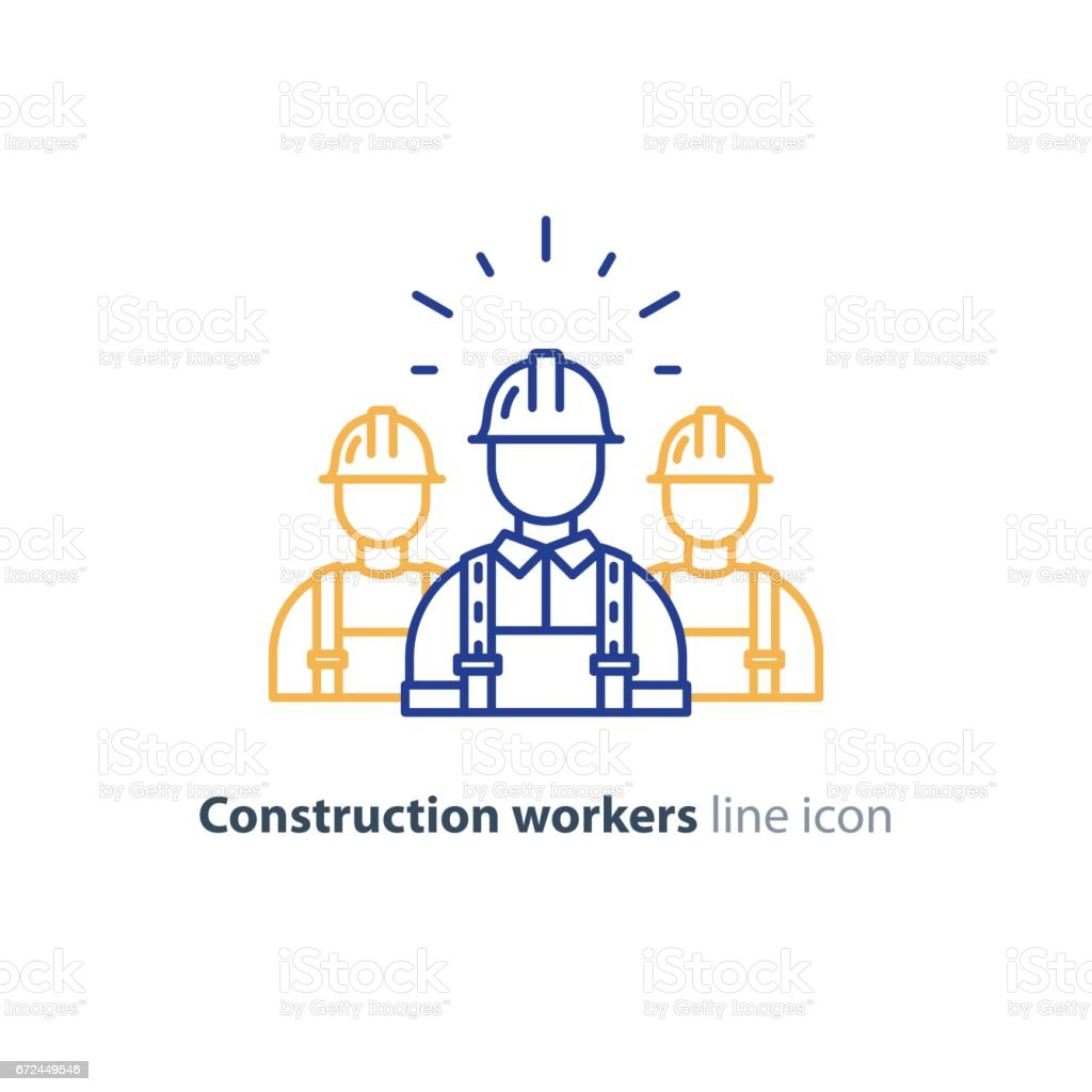 Labor workforce, construction workers group in helmet, three builders vector art illustration