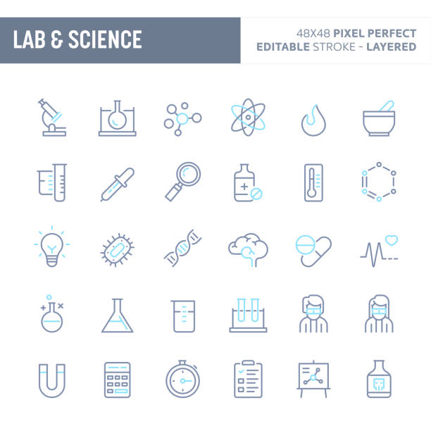 Laboratorium & Sciences Minimal Vector Icon Set (EPS 10) Science research, Laboratory experiments and equipments - simple outline icon set. Editable strokes and Layered (each icon is on its own layer with proper name) to enhance your design workflow. laboratory flask stock illustrations