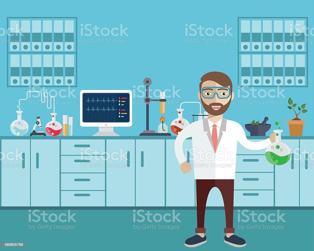 Assistente de laboratório com tubo de ensaio. - ilustração de arte em vetor