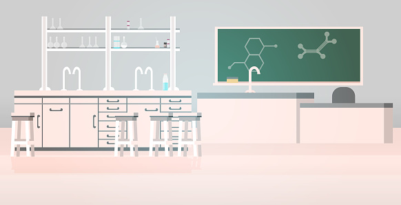 laboratory chemical in science classroom interior of university college empty no people lab with furniture horizontal