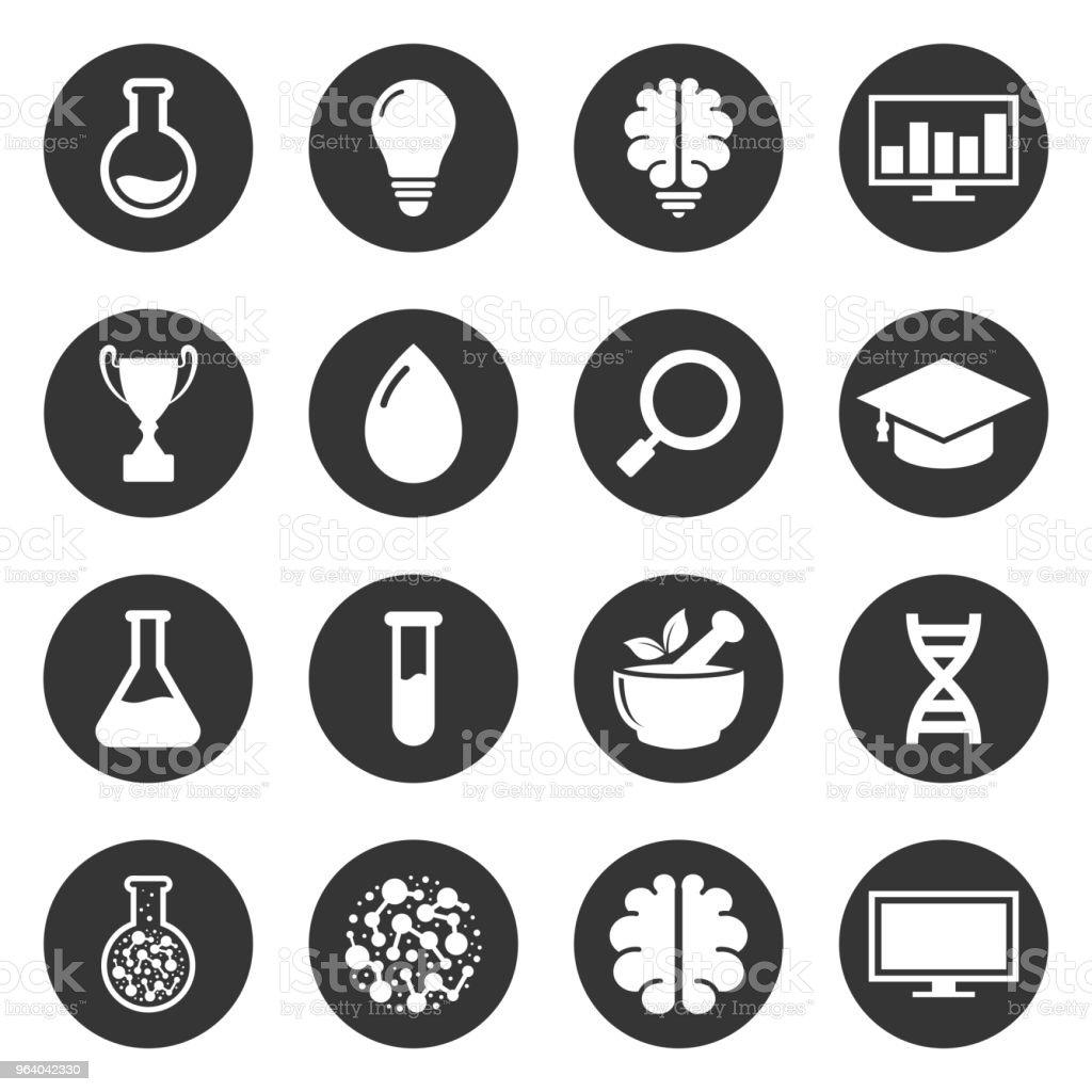 研究室、教育、ハーブ、脳、モニター シンプルなアイコン ベクトル デザイン - アイコンのロイヤリティフリーベクトルアート