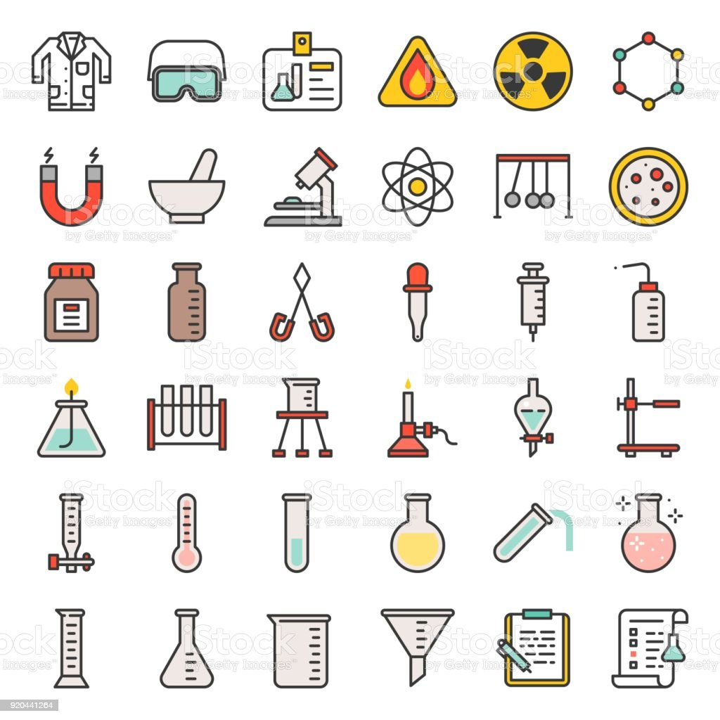 laboratory equipment, chemistry analytical concept, filled outline icon vector art illustration