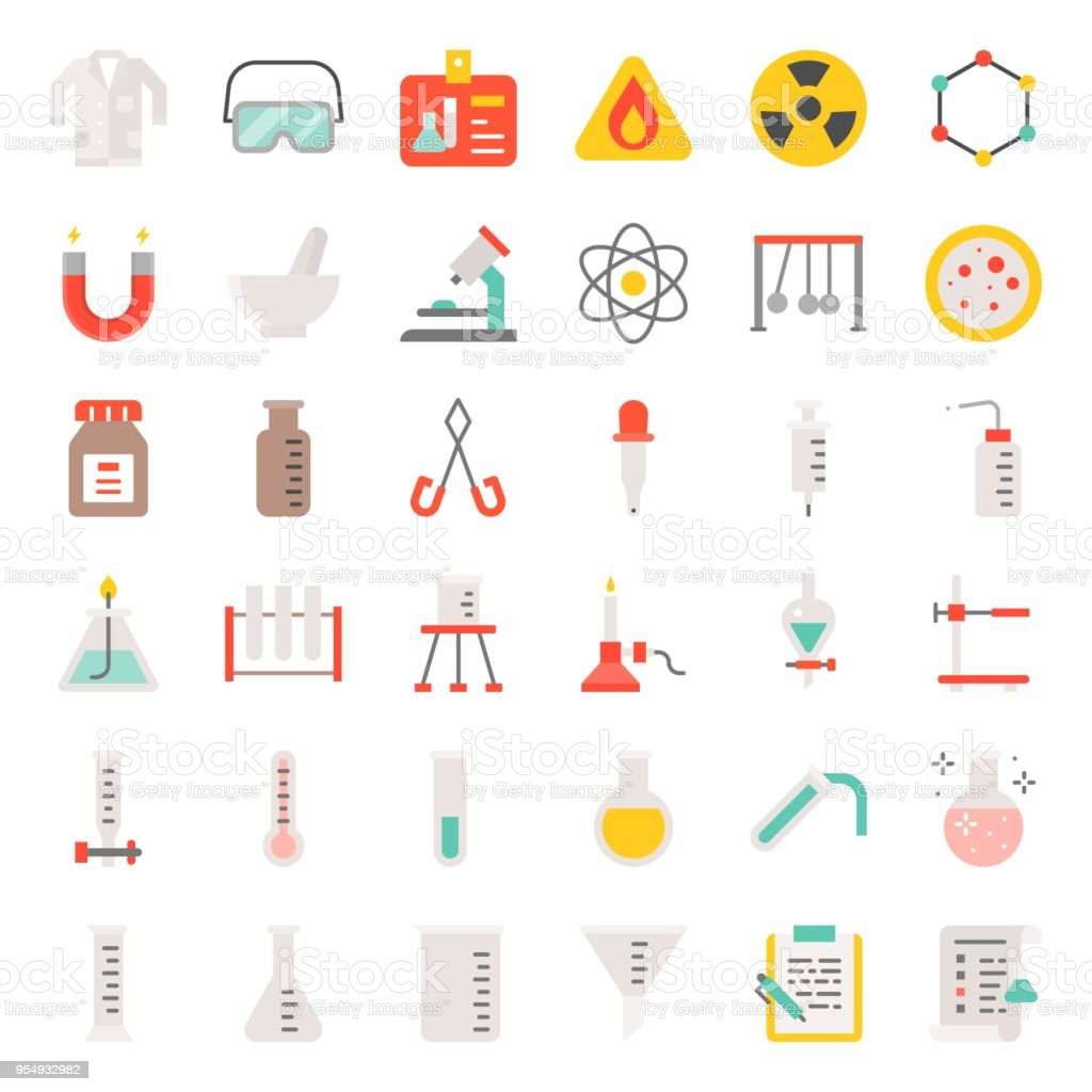 laboratory equipment, chemistry analytical concept, flat icon vector art illustration