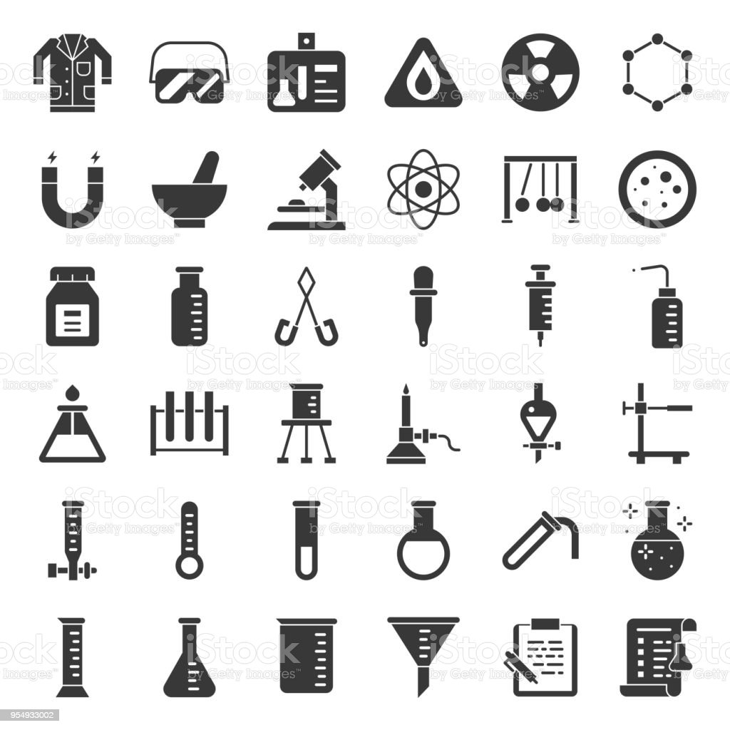 laboratory equipment, chemistry analytical concept, solid icon vector art illustration