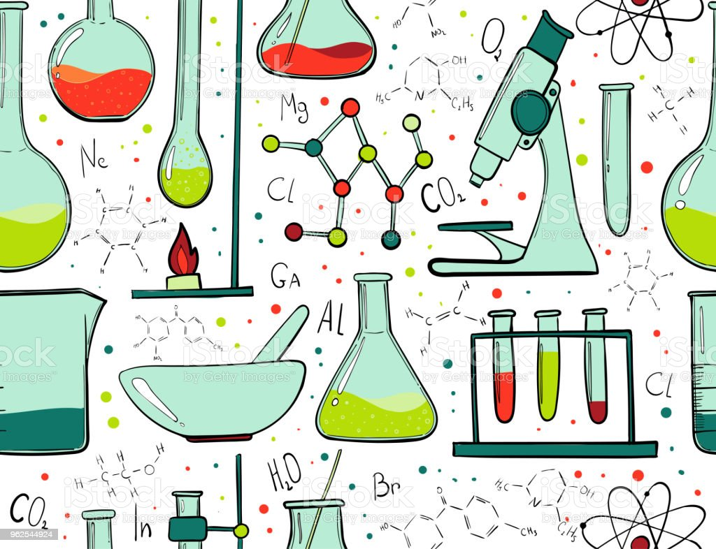 Laboratory equipment color seamless pattern. Science chemistry. Microscope, Glass flasks and test tubes. Chemical experiments. Formulas, elements and atoms. Background - Royalty-free Atom stock vector