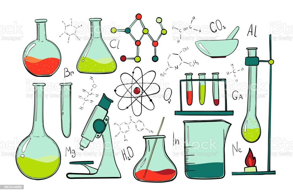 Laboratory equipment color set. Science chemistry. Microscope, Glass flasks and test tubes. Chemical experiments. Formulas, elements and atoms. objects - Royalty-free Atom stock vector