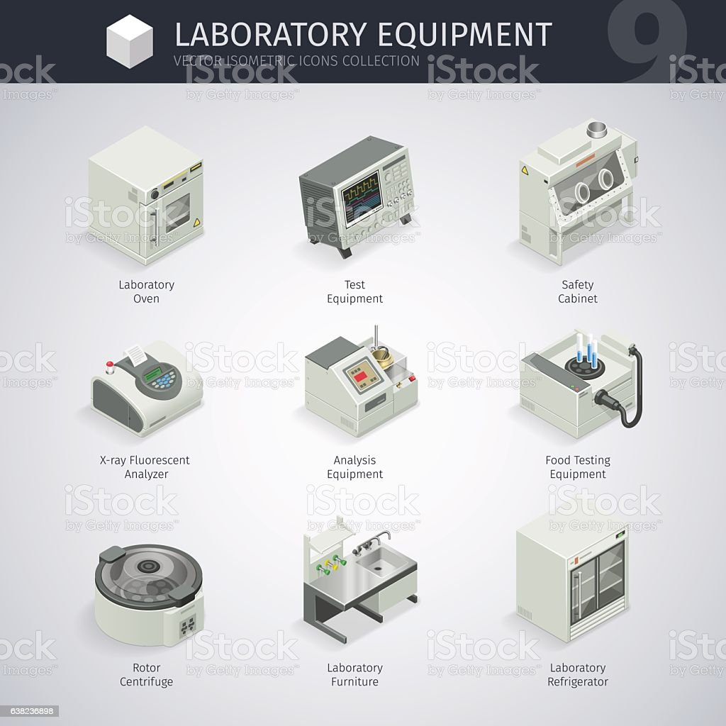 Laboratory Equipment Icons vector art illustration