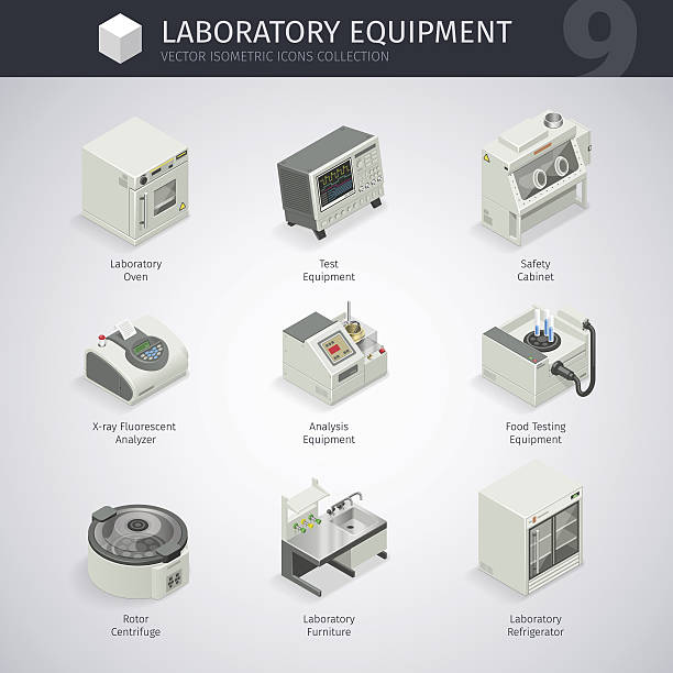 Laboratory Equipment Icons Laboratory equipment. Vector isometric icons collection. Clipping paths included in JPG file. centrifuge stock illustrations
