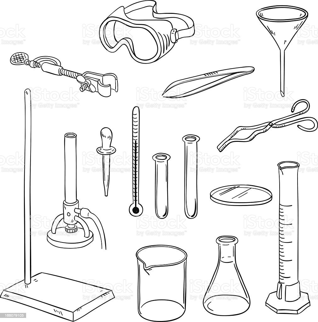 laboratory equipment in black and white stock vector art
